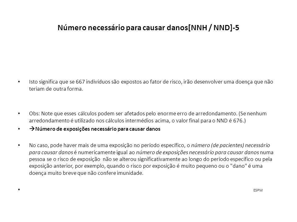 Número necessário para causar danos[NNH / NND]-5